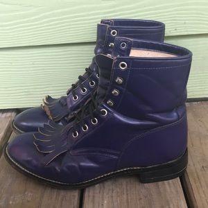 Vintage Justin Rare Purple Cowgirl Kiltie Boots